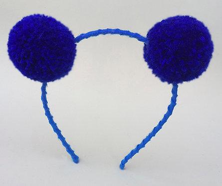 Tiara Pompom Azul Royal