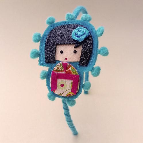 Tiara Kokeshi Azul moda feminina infantil acessórios para meninas estilo boneca japonesa