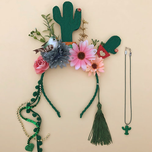 Tiara Cacto Encantado acessórios para meninas enfeite de cabelo enfeite de cabeça acessório de cabeça arco carnaval fantasia