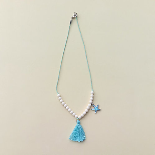 Colar azul estrela e franja moda feminina acessórios para meninas moda infantil