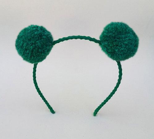 Tiara pompom verde enfeite de cabeça