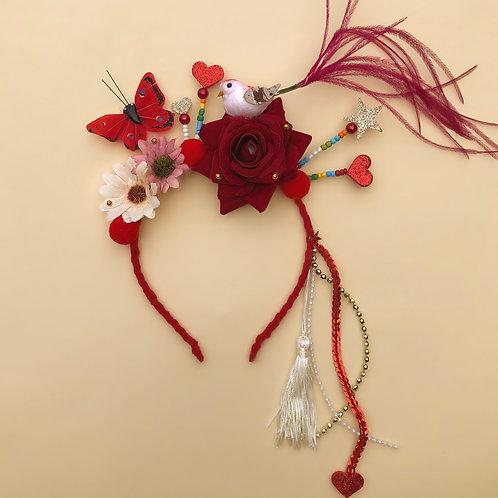 acessórios para meninas enfeite Tiara Borboleta Red cabelo enfeite de cabeça acessório de cabeça arco carnaval fantasia