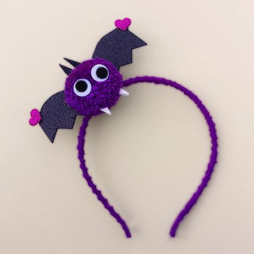 Tiara Morcego Roxo Halloween dia das bruxas acessórios para meninas acessórios femininos moda infantil