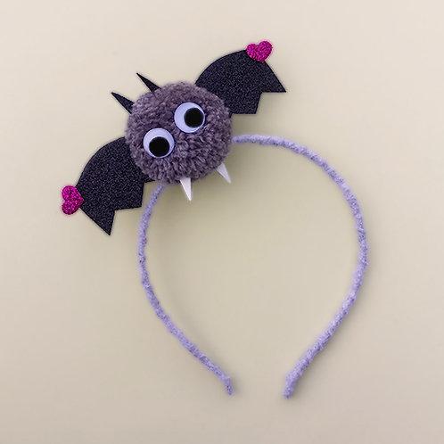 Tiara Morcego Cinza Halloween dia das bruxas acessórios para meninas acessórios femininos moda infantil