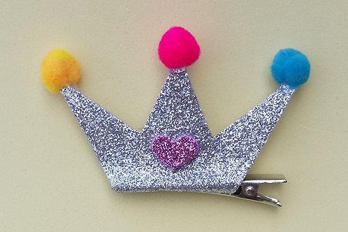 Presilha Coroa Glitter Prata