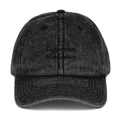 """Eighteen Nineteen Written In Black"" Vintage Cotton Twill Cap"