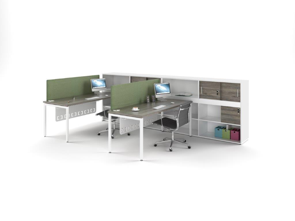Euro 38 Single Desking with Spine Unit