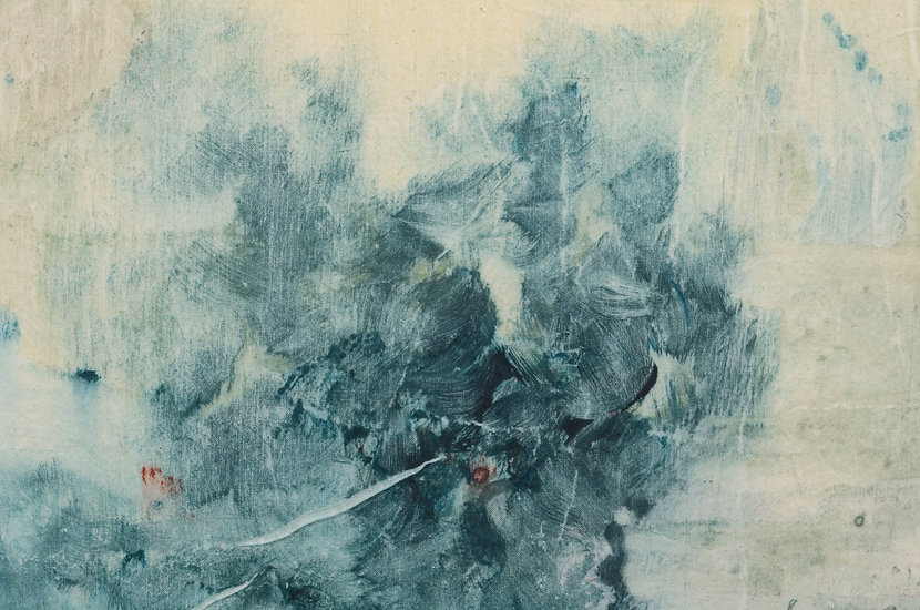 A detail of Amber Moir's monotype titled Deep Reserves II