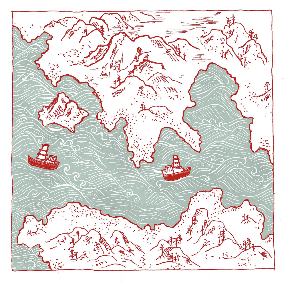 Red Boats in the Floating City. Illustration by author.