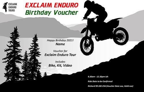 Exclaim Enduro Tour Half Day |  Birthday Gift Voucher