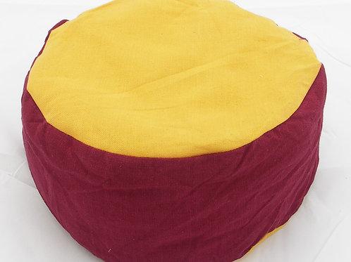 Meditační polštářek kulatý vínovo-žlutý