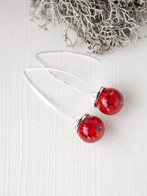 Red Coral Drops Earrings