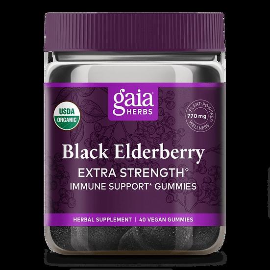 Gaia Black Elderberry Gummies - Extra Strength