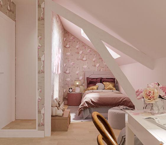 Pokój dziewczynki ze skosami