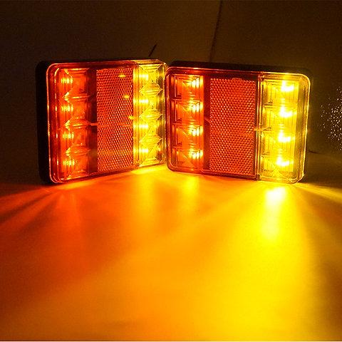 Led Truck Tail Lights >> 2pcs 8 Led Truck Rear Tail Lights Warning Lighting Rear Lamps 12v Waterproof
