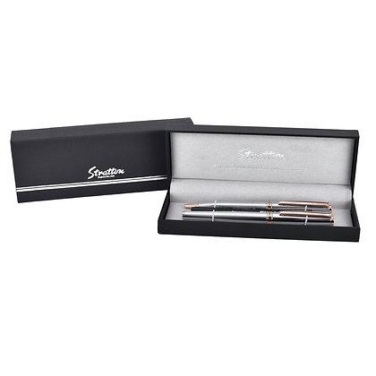 Stratton Roller Ball & Ball Point Pen Set - Silver & Copper