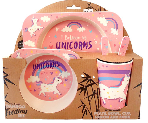 5 Piece Eco-Friendly Bamboo Feeding Set   Unicorn