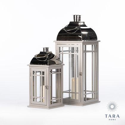 Julie s/2 wooden lanterns grey/chrome