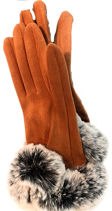 Gloves w Faux Fur trim Beige