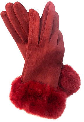 Gloves w faux Fur Trim