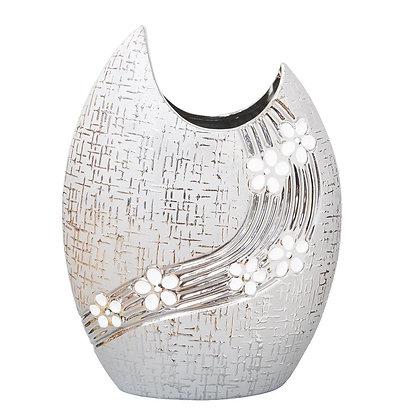 HESTIA Gunmetal Ceramic Oval Vase with White Flowers - 21cm