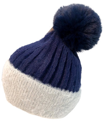 Beanie hat w Bobble navy & grey