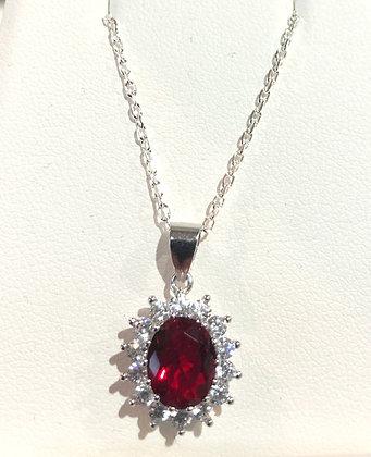 Sterling Silver Pendant w Ruby Stone