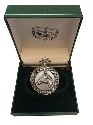 Mullingar Pewter Mechanical Pocket Watch Horse 2