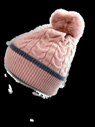 Beanie Hat w Bobble  Pink