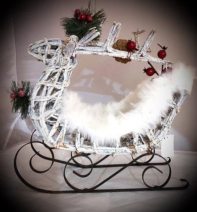 Wicker reindeer on Sleigh
