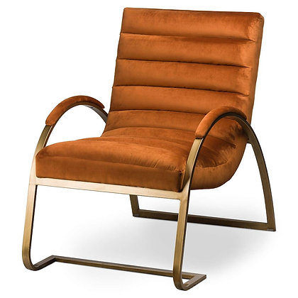 BURNT ORANGE AND BRASS RIBBED ARK CHAIR 66X96X91CM
