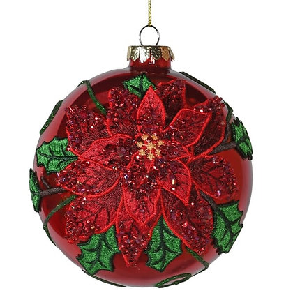 Glass Red Poinsettia Bauble