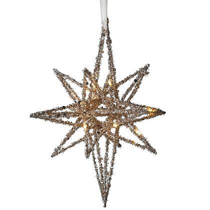 Lit 3D Gold Glitter Star