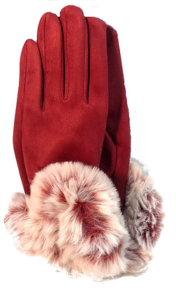 Gloves w Faux Fur Trim