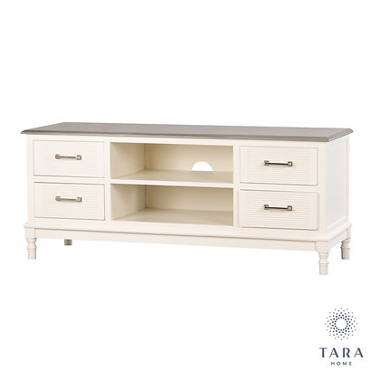 Lucia 4 drw tv unit pearl white/stone grey