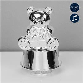 HOVER TO ZOOM IMAGES BAMBINO SILVER PLATED MUSCIAL TEDDY MONEY BO