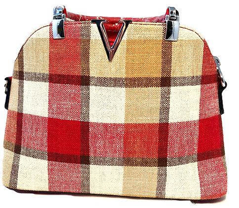 Red /Cream Check Handbag