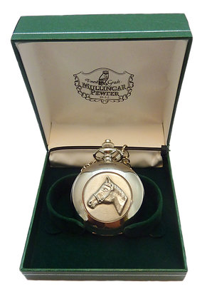 Mullingar Pewter Pocket Watch with Horse Design