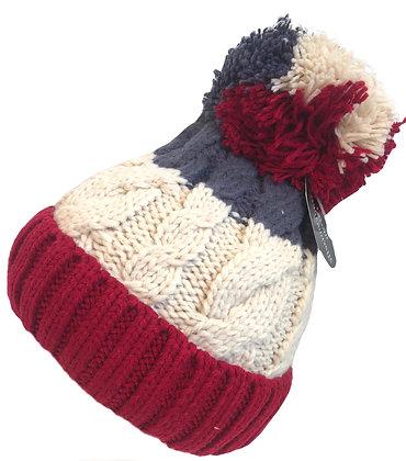 Bauble Beanie Hat Red/White Grey