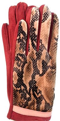 Gloves snake pattern Burgundy