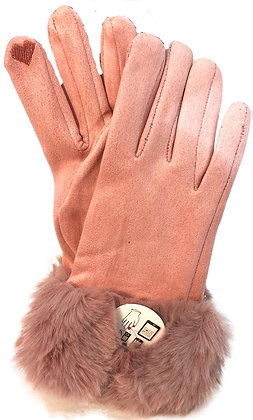 Gloves Pink w Faux Fur trim