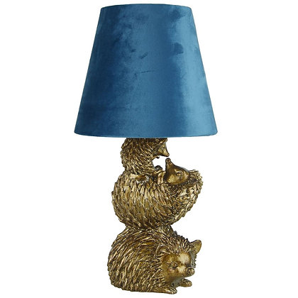 SILVER HEDGEHOG LAMP W/BLUSH VELVET SHADE