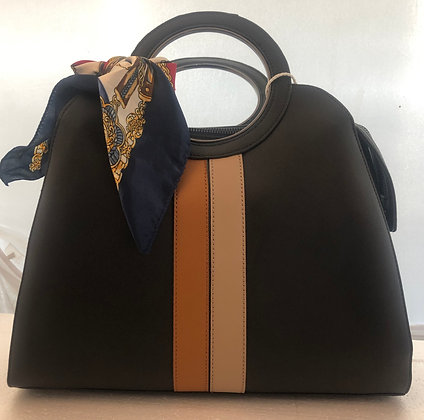 Black Schilo Jolie Handbag w Brown & Cream front stripes
