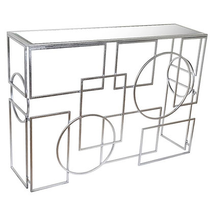 SILVER CONSOLE w CIRCLES AND SQUARES
