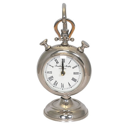 NICKEL CLOCK ON STAND 30CM