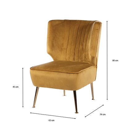 Accent Chair Mustard Velvet