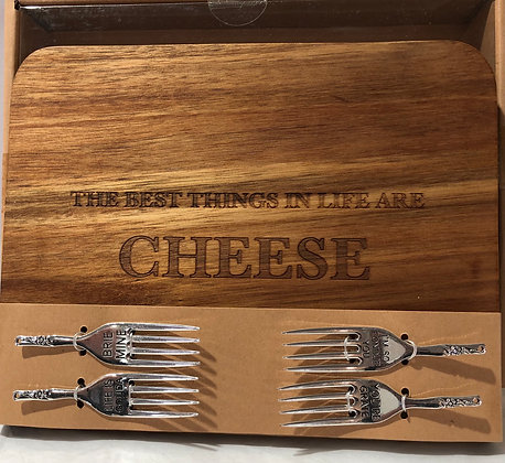 Cheese  Board w Four Cheese Forks
