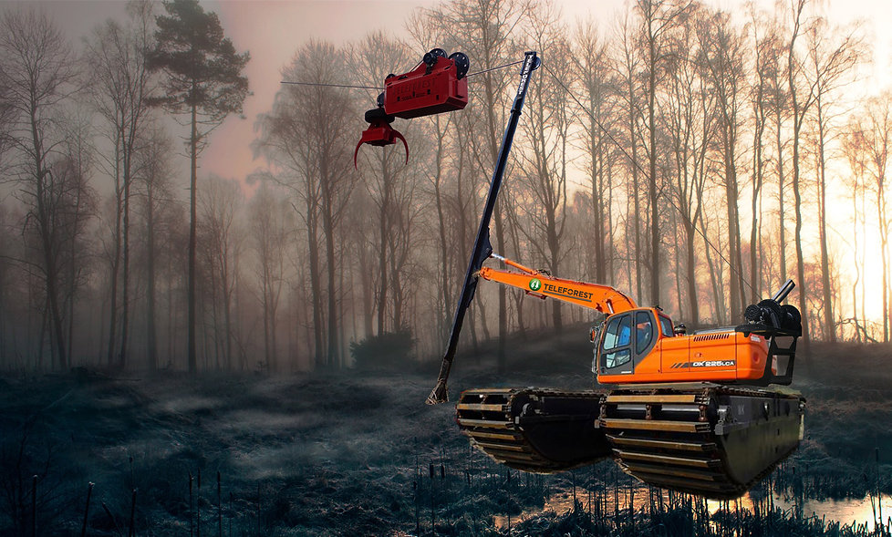 The Sky-Log system is possible and cost effective on flat terrain thanks to the self-propelled carriage.