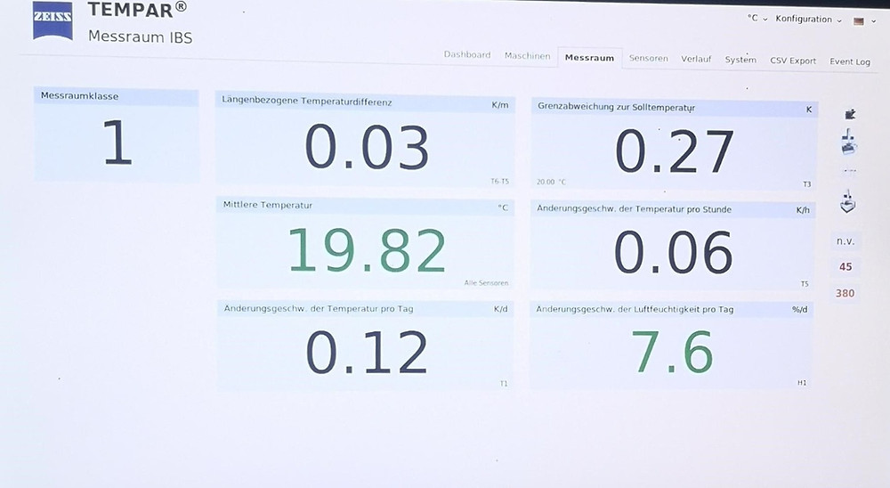 Zeiss Tempar Klimaüberwachung für akkreditierte Lohnmessung bei IBS Quality GmbH