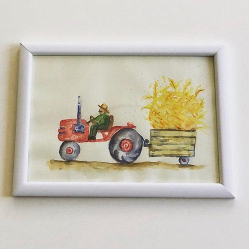 ציור לחדר ילדים-טרקטור